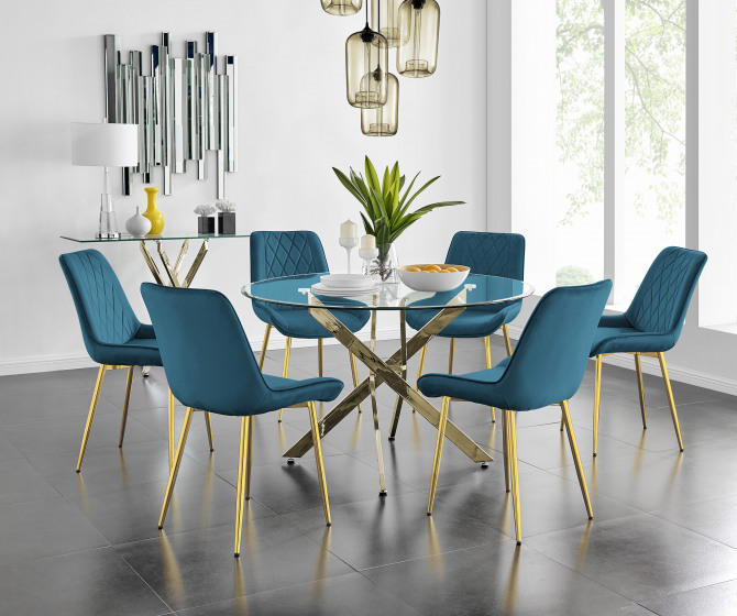 Novara 120cm Gold Round Dining Table and 4 or 6 Pesaro Gold Leg Chairs