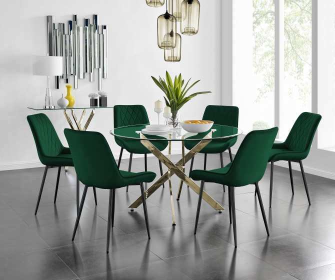 Novara 120cm Gold Round Dining Table and 6 Pesaro Black Leg Chairs
