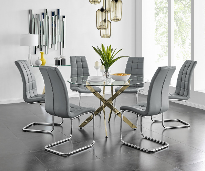 Novara Gold Metal Large 120cm Round Dining Table And 4 or 6 Murano Chairs Set