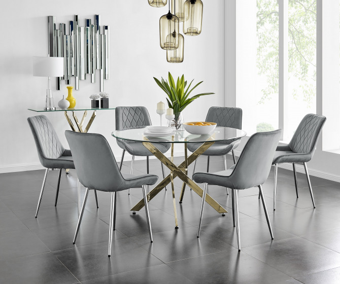 Novara 120cm Gold Round Dining Table and 6 Pesaro Silver Leg Chairs
