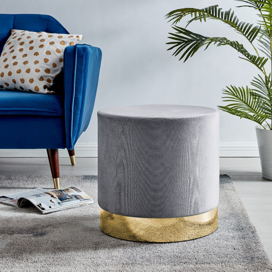 Como Grey Velvet Upholstered Gold Stool
