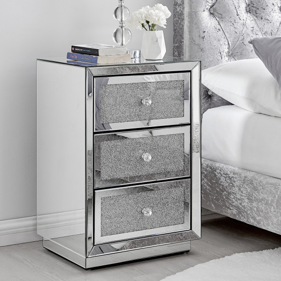 Stella Crushed Diamond Mirrored Bedside Table