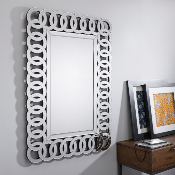 Italian Large Silver Patterned Rectangular Wall Mirror