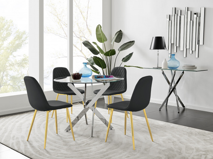 Novara Chrome Metal 100cm Round Glass Dining Table And 4 Corona Gold Dining Chairs