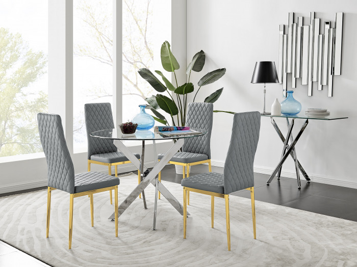 Novara 100cm Round Dining Table and 4 Gold Leg Milan Chairs