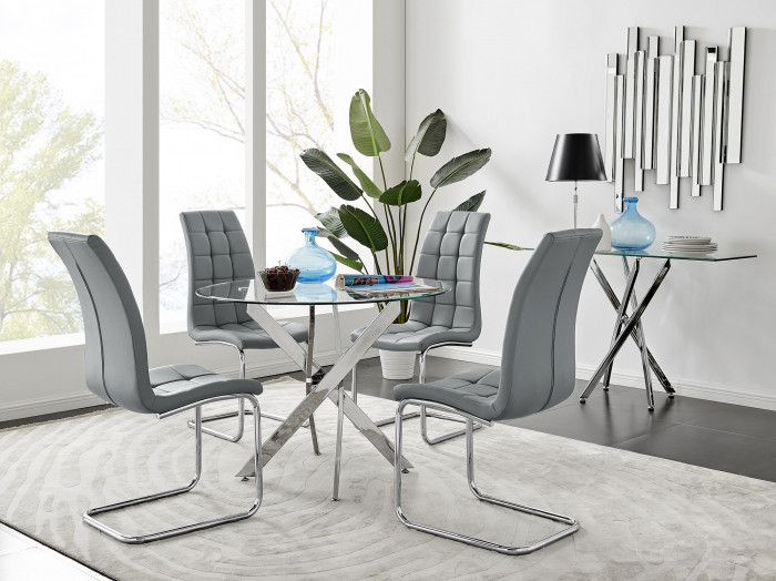 Novara Chrome Metal 100cm Round Glass Dining Table And 4 Murano Dining Chairs