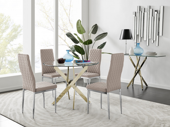 Novara Gold Metal 100cm Round Glass Dining Table And 4 Milan Dining Chairs