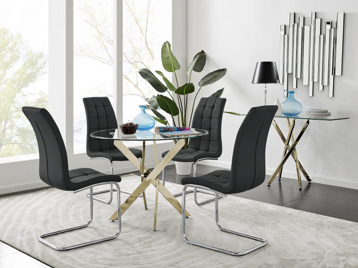 Novara Gold Metal 100cm Round Glass Dining Table And 4 Murano Dining Chairs