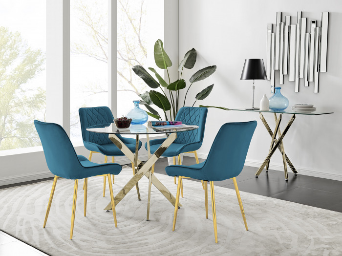 Novara 100cm Gold Round Dining Table and 4 Pesaro Gold Leg Chairs
