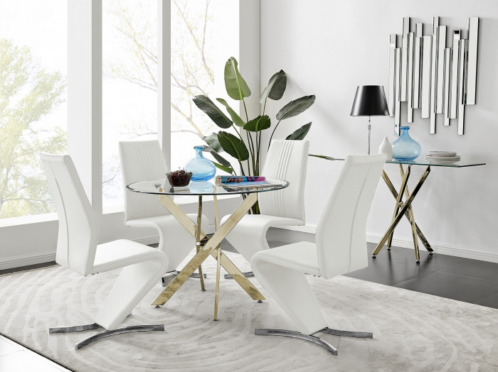 Novara Gold Metal 100cm Round Glass Dining Table And 4 Willow Dining Chairs