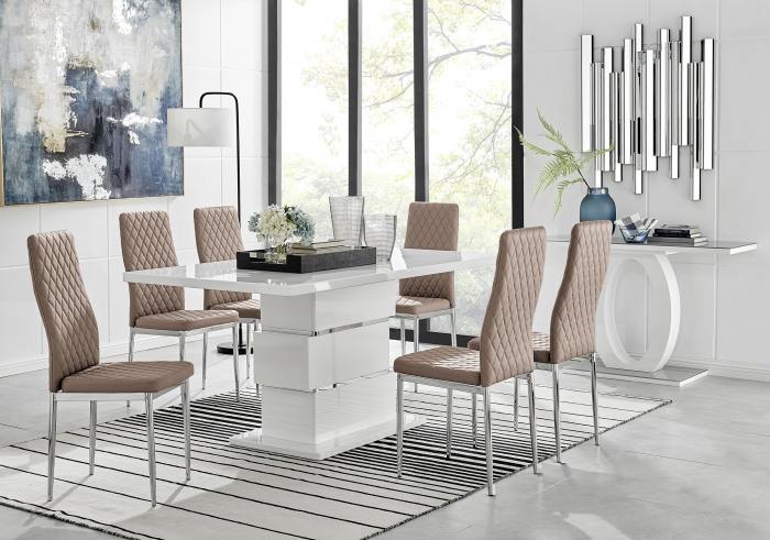 Apollo Rectangle White High Gloss Chrome Dining Table And 6 Milan Chairs Set