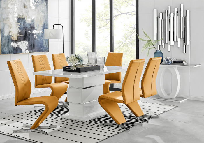 Apollo Rectangle White High Gloss Chrome Dining Table And 6 Willow Chairs Set