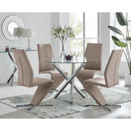 Selina Chrome Glass Dining Table 4 Willow Chairs Furniturebox