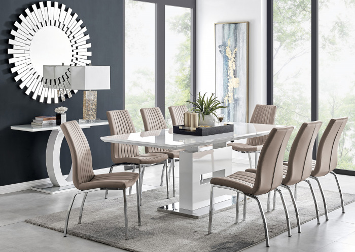 Arezzo Large Extending Dining Table and 8 Isco Chairs
