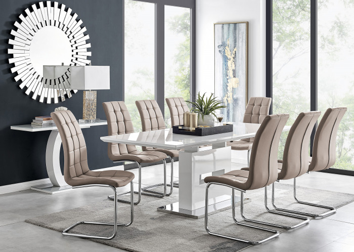 Arezzo Large Extending Dining Table and 8 Murano Chairs