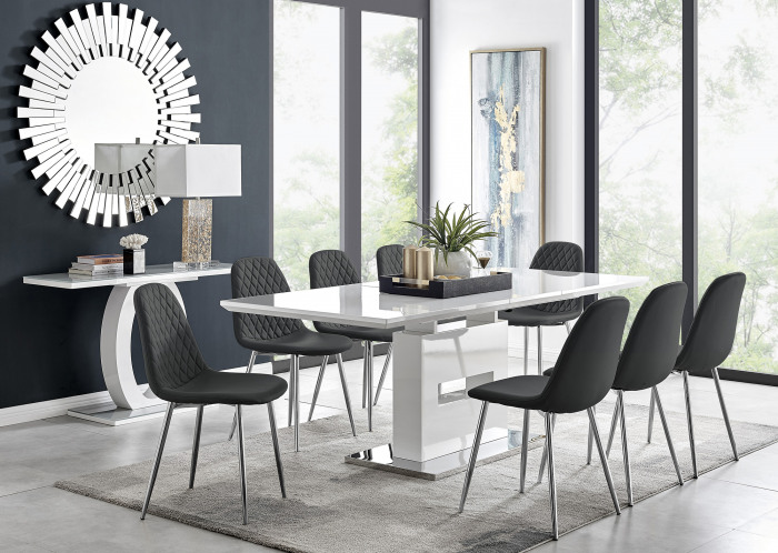 Arezzo Large Extending Dining Table and 8 Corona Silver Leg Chairs