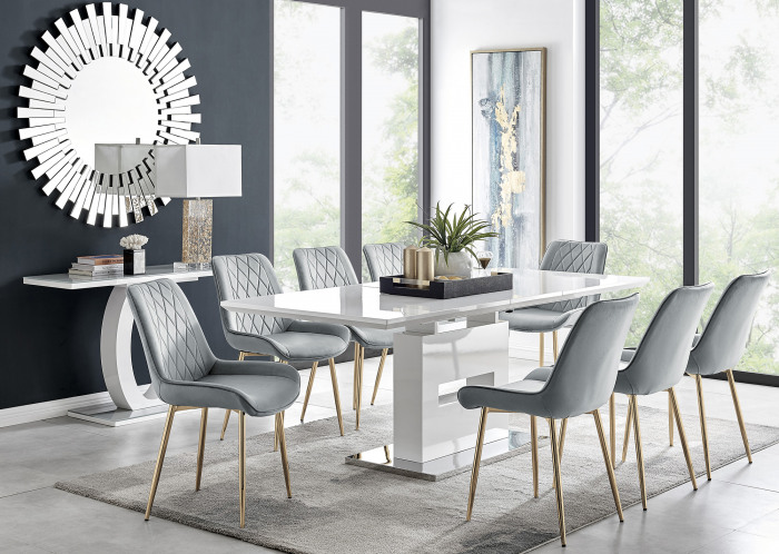 Arezzo Large Extending Dining Table and 8 Pesaro Gold Leg Chairs