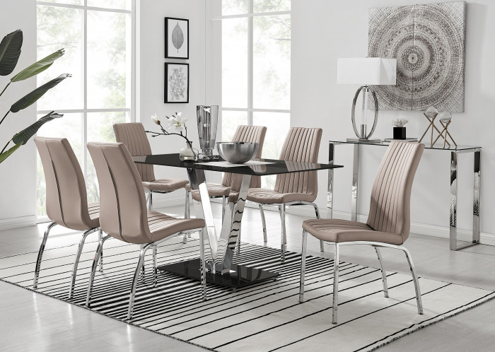 Florini V Black Dining Table and 6 Isco Chairs