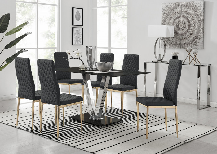 Florini V Black Dining Table and 6 Gold Leg Milan Chairs