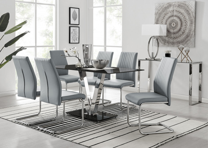 Florini Black Glass And Chrome Metal Dining Table And 6 Lorenzo Dining Chairs Set
