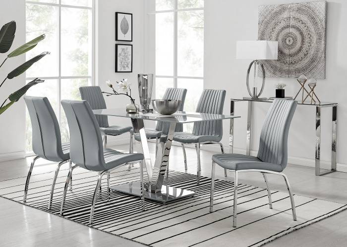 Florini V Grey Dining Table and 6 Isco Chairs