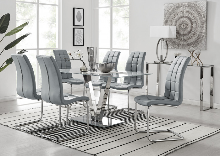 Florini V Grey Dining Table and 6 Murano Chairs