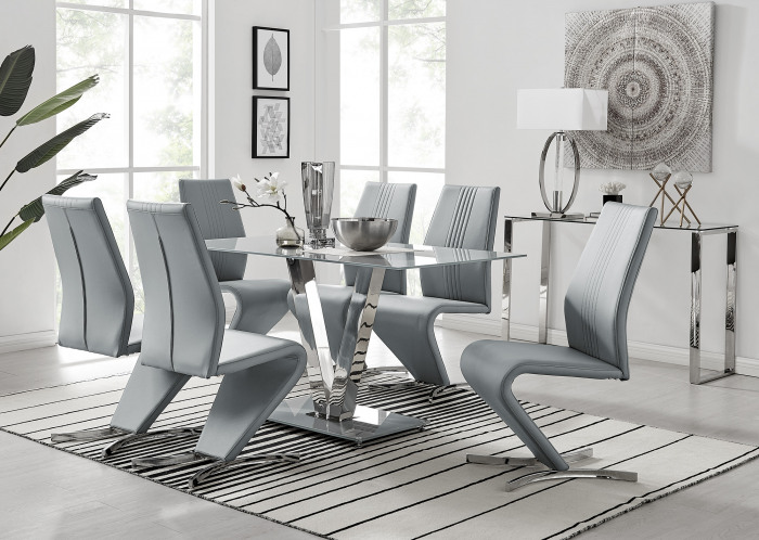 Florini V Grey Dining Table and 6 Willow Chairs