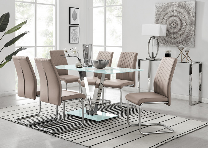 Florini White Glass And Metal V Dining Table And 6 Lorenzo Dining Chairs Set