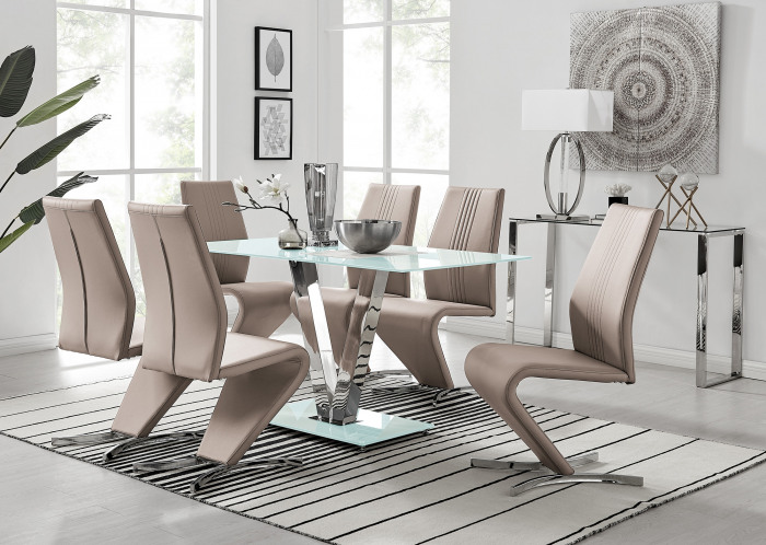 Florini White Glass And Metal V Dining Table And 6 Willow Dining Chairs Set