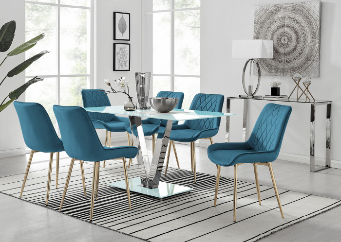Florini V White Dining Table and 6 Pesaro Gold Leg Chairs