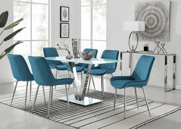 Florini V White Dining Table and 6 Pesaro Silver Leg Chairs