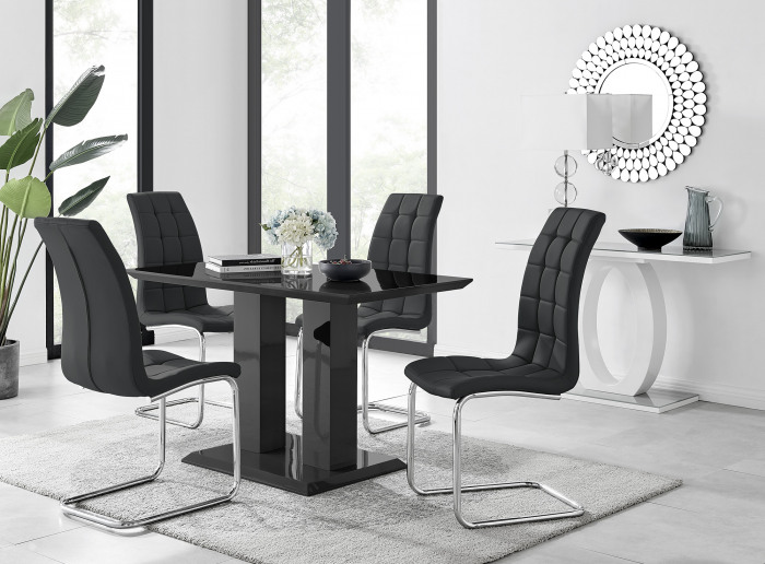 Imperia 4 Black Dining Table and 4 Murano Chairs