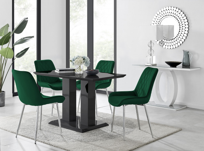 Imperia 4 Black Dining Table and 4 Pesaro Silver Leg Chairs