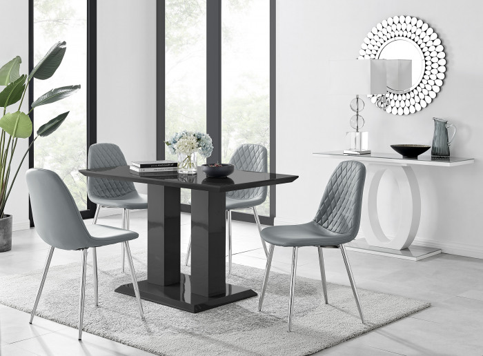 Imperia 4 Black Dining Table and 4 Corona Silver Leg Chairs