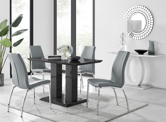 Imperia 4 Black Dining Table and 4 Isco Chairs