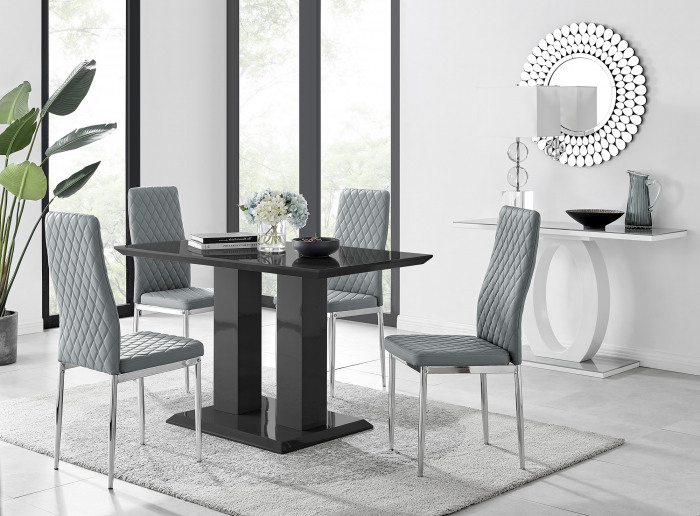 Imperia 4 Modern Black High Gloss Dining Table And 4 Modern Milan Chairs Set