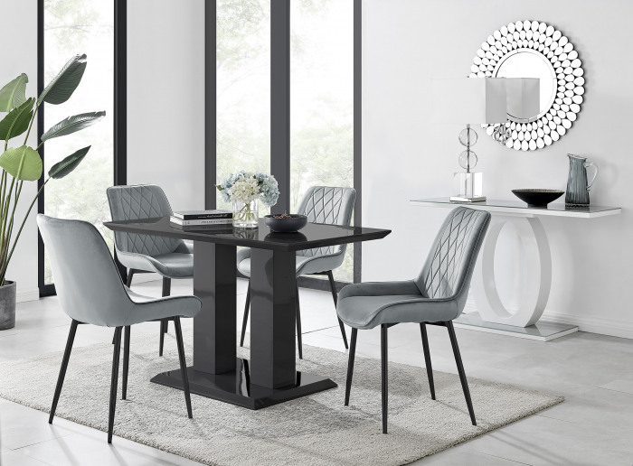 Imperia 4 Black Dining Table and 4 Pesaro Black Leg Chairs