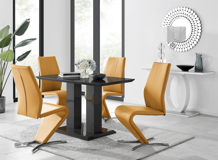 Imperia 4 Modern Black High Gloss Dining Table And 4 Luxury Willow Chairs Set