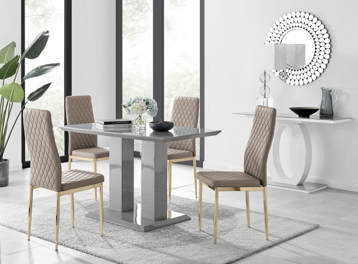 Imperia 4 Grey Dining Table and 4 Gold Leg Milan Chairs