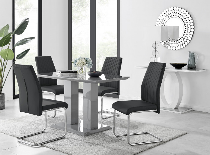 Imperia 4 Modern Grey High Gloss Dining Table And 4 Stylish Lorenzo Chrome Dining Chairs Set