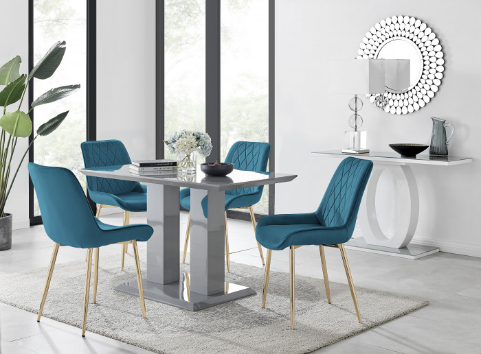 Imperia 4 Grey Dining Table and 4 Pesaro Gold Leg Chairs