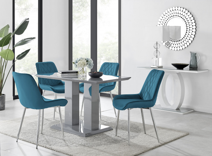 Imperia 4 Grey Dining Table and 4 Pesaro Silver Leg Chairs