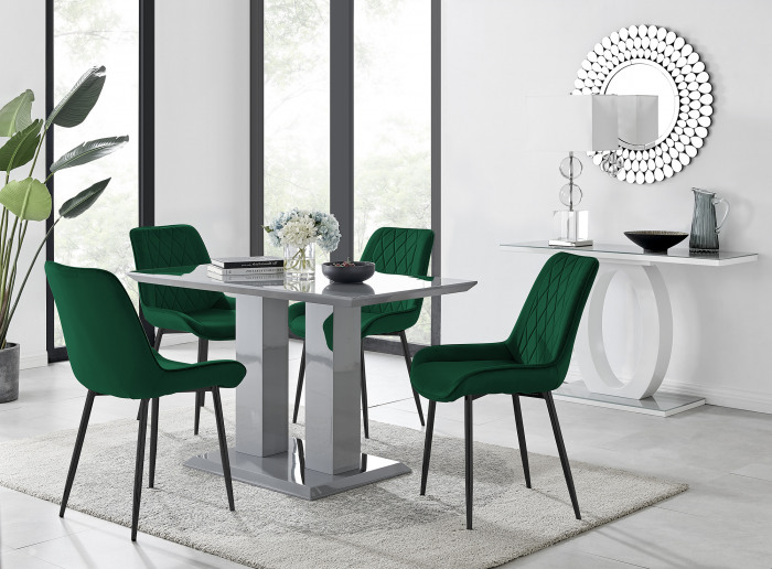 Imperia 4 Grey Dining Table and 4 Pesaro Black Leg Chairs