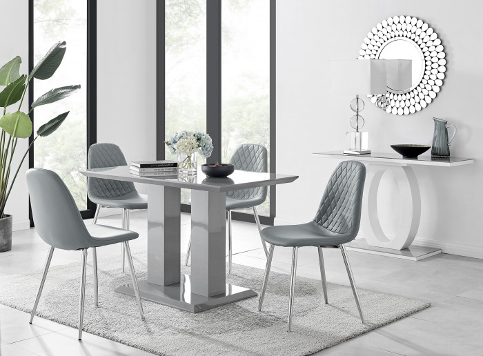 Imperia 4 Modern Grey High Gloss Dining Table And 4 Corona Silver Chairs Set