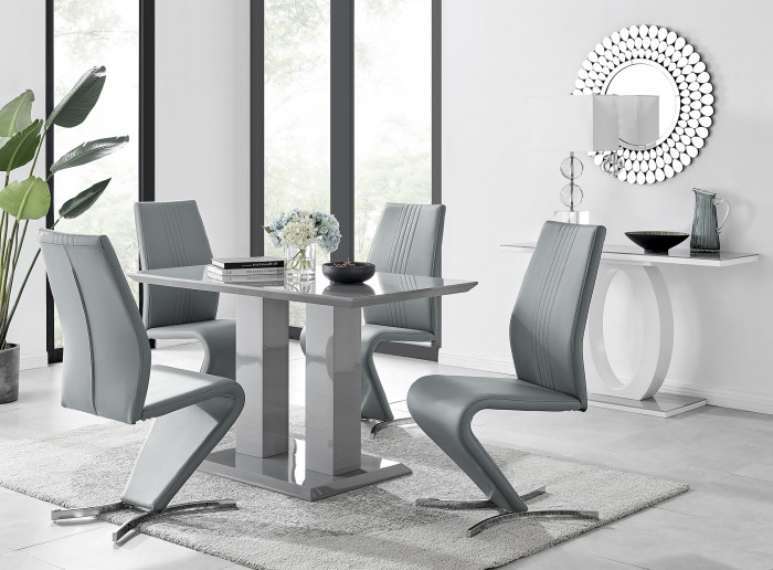 Imperia 4 Modern Grey High Gloss Dining Table And 4 Willow Chairs Set