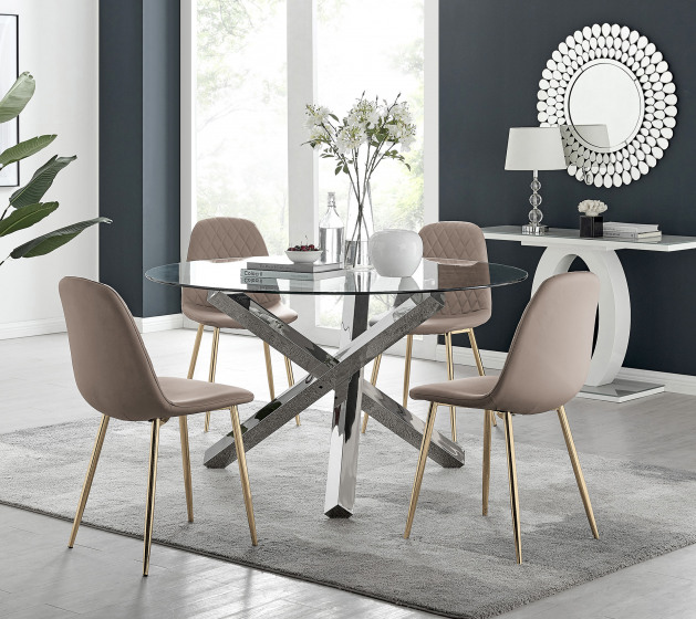 Vogue Large Round Chrome Metal Clear Glass Dining Table And 4 or 6 Corona Gold Dining Chairs Set