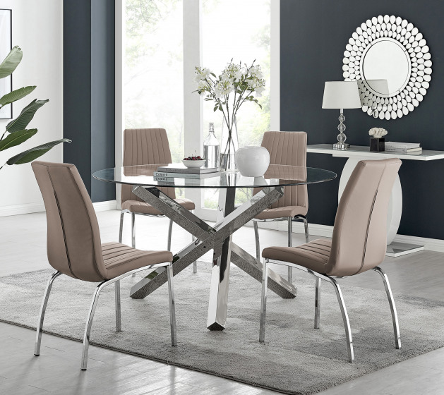 Vogue Large Round Chrome Metal Clear Glass Dining Table And 4 or 6 Isco Dining Chairs Set