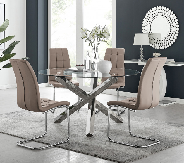 Vogue Large Round Chrome Metal Clear Glass Dining Table And 4 or 6 Murano Dining Chairs Set
