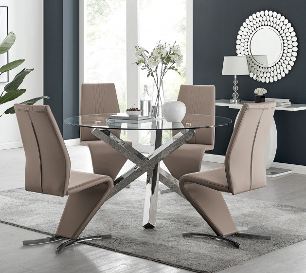 Vogue Large Round Chrome Metal Clear Glass Dining Table And 4 or 6 Willow Dining Chairs Set