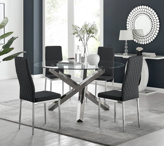 Vogue Large Round Chrome Metal Clear Glass Dining Table And 4 or 6 Milan Dining Chairs Set